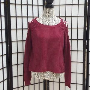 Ambiance burgundy cold shoulder knit sweater
